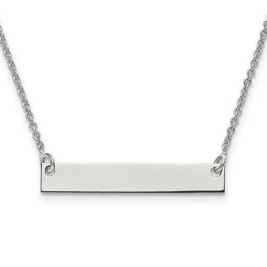 10XNA637W: 10 Karat White Gold Small Polished Blank Bar with Chain