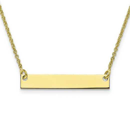 10XNA637Y: 10 Karat Yellow Gold Small Polished Blank Bar with Chain