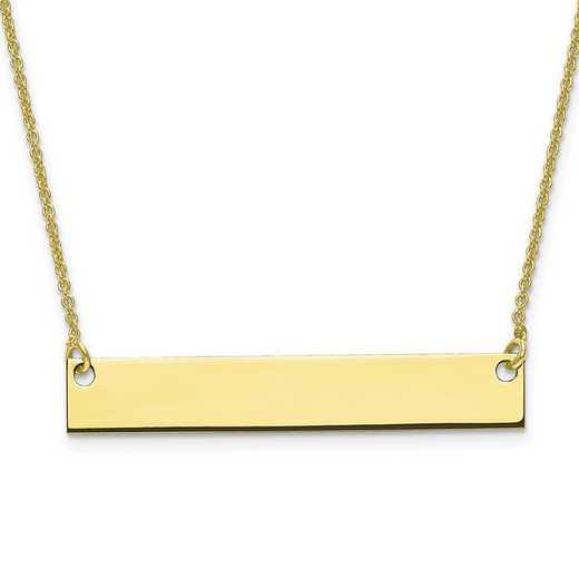 10XNA638Y: 10 Karat Yellow Gold Medium Polished Blank Bar with Chain