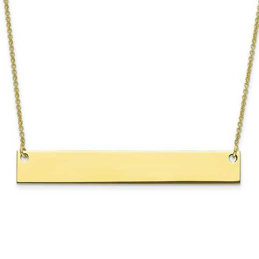 10XNA639Y: 10 Karat Yellow Gold Large Polished Blank Bar with Chain