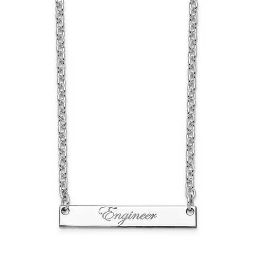 10XNA640WB: 10K White Gold Polished Engineer Script Bar Necklace