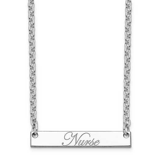 10XNA640WC: 10K White Gold Polished Nurse Script Bar Necklace