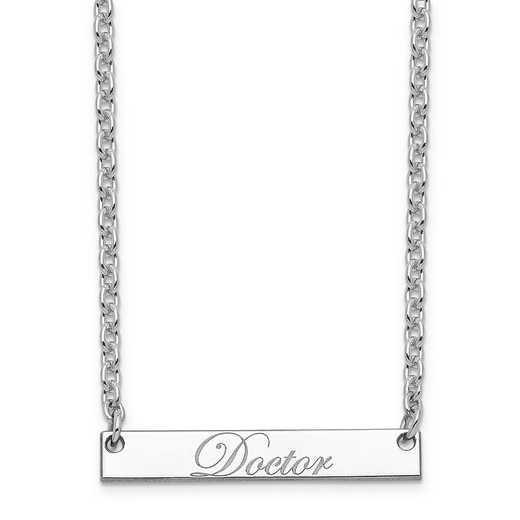 10XNA640WD: 10K White Gold Polished Doctor Script Bar Necklace