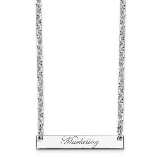 10XNA640WE: 10K White Gold Polished Marketing Script Bar Necklace