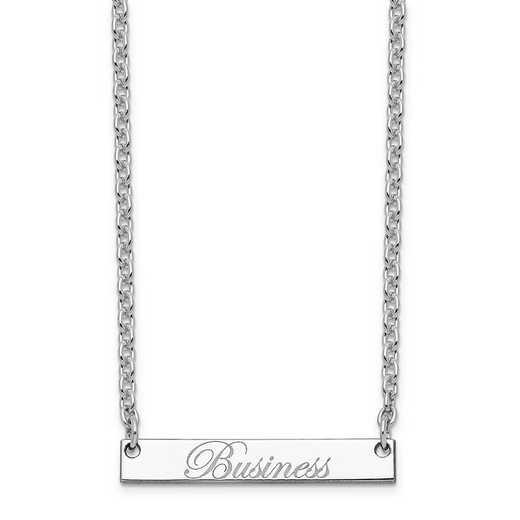 10XNA640WF: 10K White Gold Polished Business Script Bar Necklace