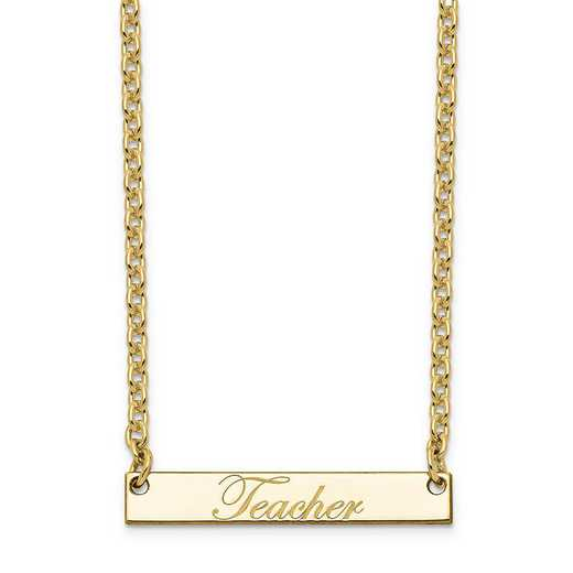 10XNA640YA: 10K Yellow Gold Polished Teacher Script Bar Necklace