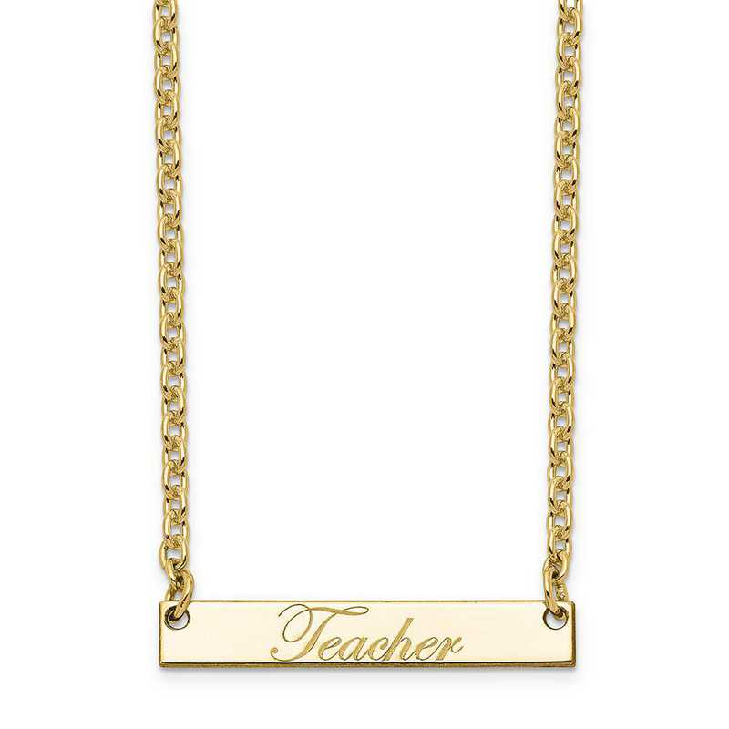10XNA640YA: 10K Yellow Gold Polished Teacher Script Bar Necklace