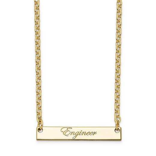 10XNA640YB: 10K Yellow Gold Polished Engineer Script Bar Necklace