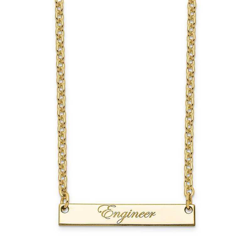 10XNA640YB: 10K Yellow Gold Polished Engineer Script Bar Necklace