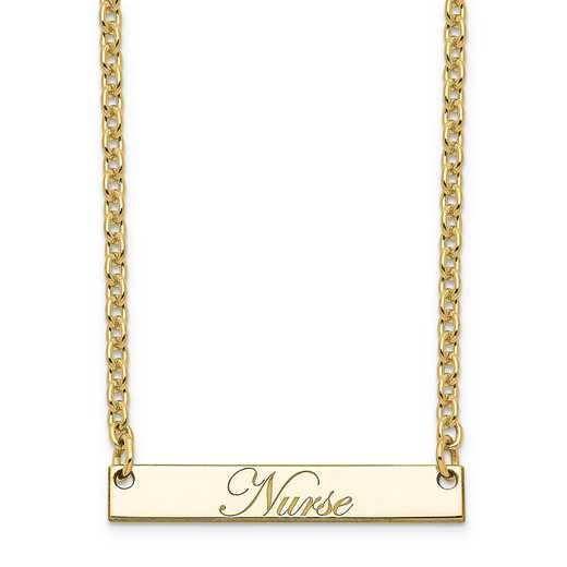 10XNA640YC: 10K Yellow Gold Polished Nurse Script Bar Necklace