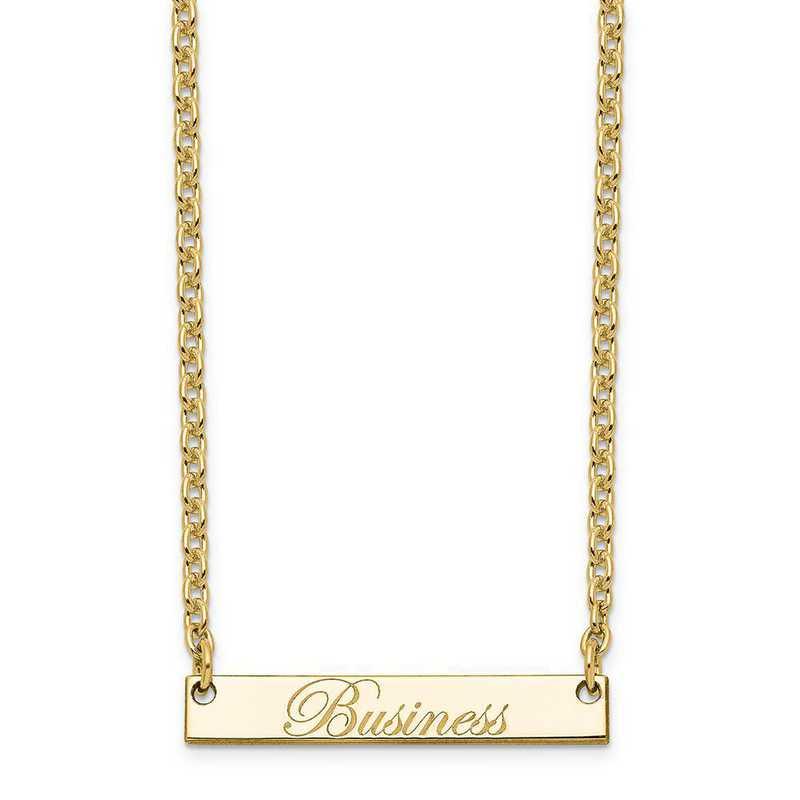 10XNA640YF: 10K Yellow Gold Polished Business Script Bar Necklace