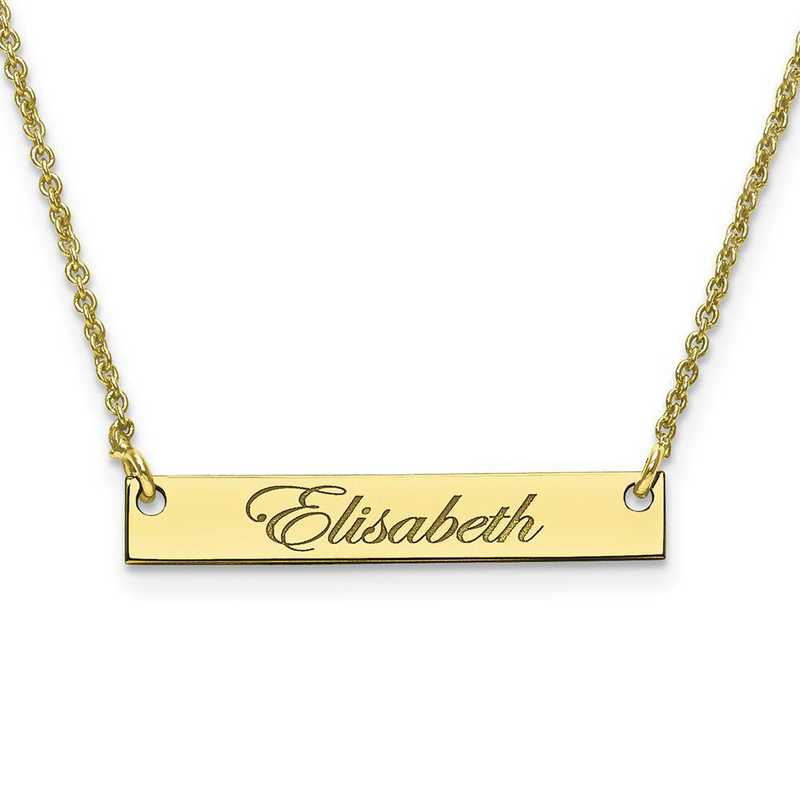 10XNA640Y: 10 Karat Yellow Gold Small Polished Script Name Bar w/Chain
