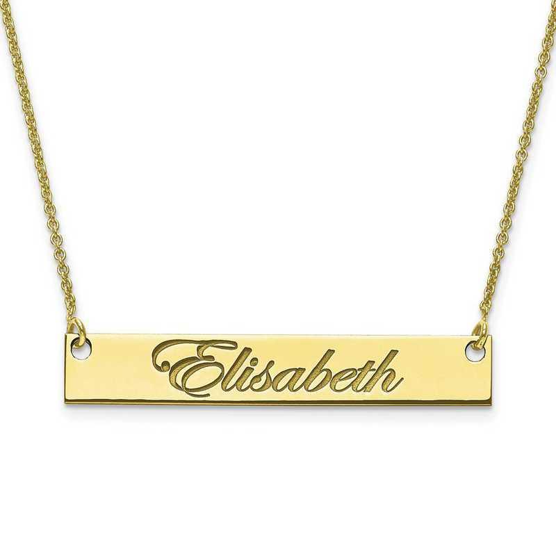 10XNA641Y: 10 Karat Yellow Gold Medium Polished Script Name Bar w/Chain