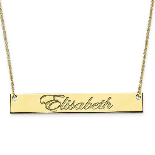 10XNA642Y: 10 Karat Yellow Gold Large Polished Script Name Bar w/Chain