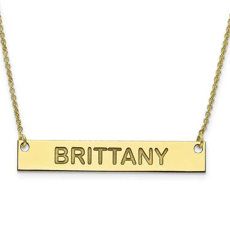 10XNA644Y: 10K Gold Medium Polished Block Letter Name Bar w/Chain