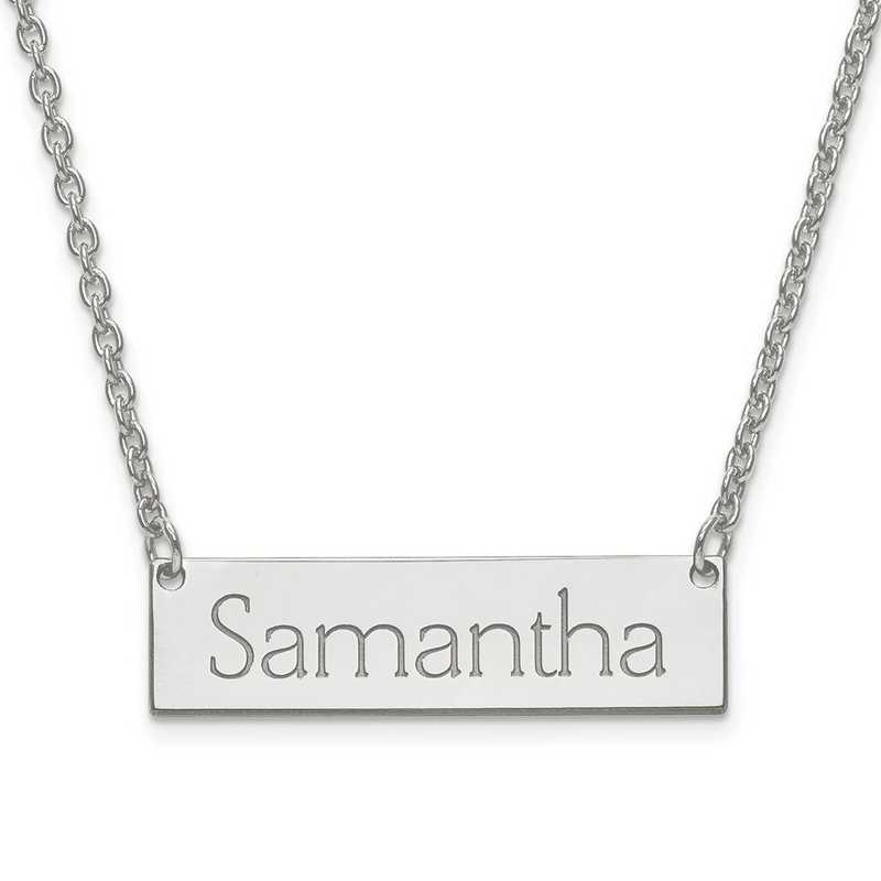 10XNA647W: 10K White Gold Small Recessed Letters Pol Name Bar w/Chain