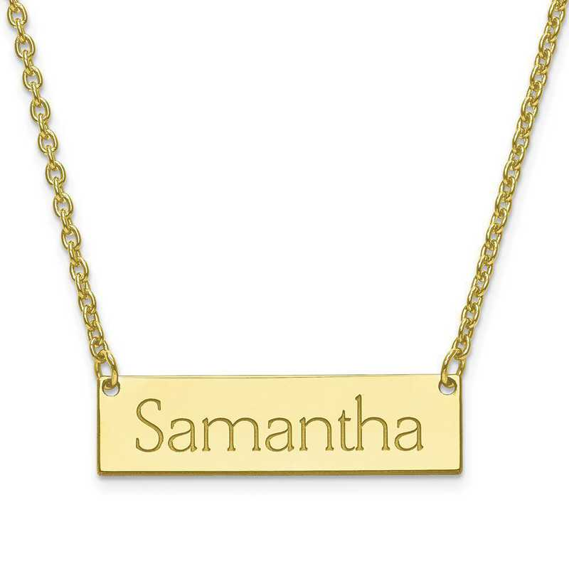 10XNA647Y: 10K Gold Small Recessed Letters Polished Name Bar w/Chain