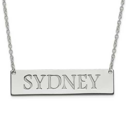 10XNA648W: 10K White Gold Recessed Letters Polished Name Bar w/Chain