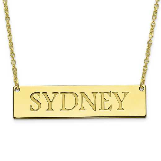 10XNA648Y: 10K Yellow Gold Recessed Letters Polished Name Bar w/Chain