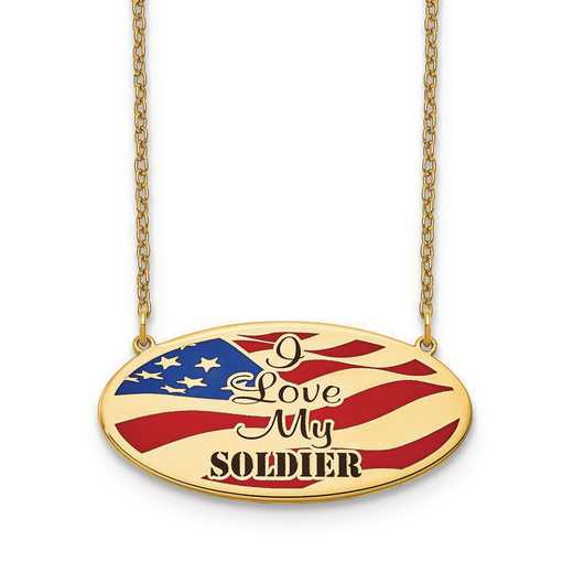 "10XNA818Y: 10KY American Flag ""I Love My"" Necklace"