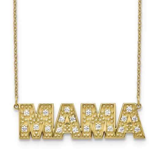 10XNA819-4YAA: 10 Karat Yellow Gold 4 Letter Diamond Necklace