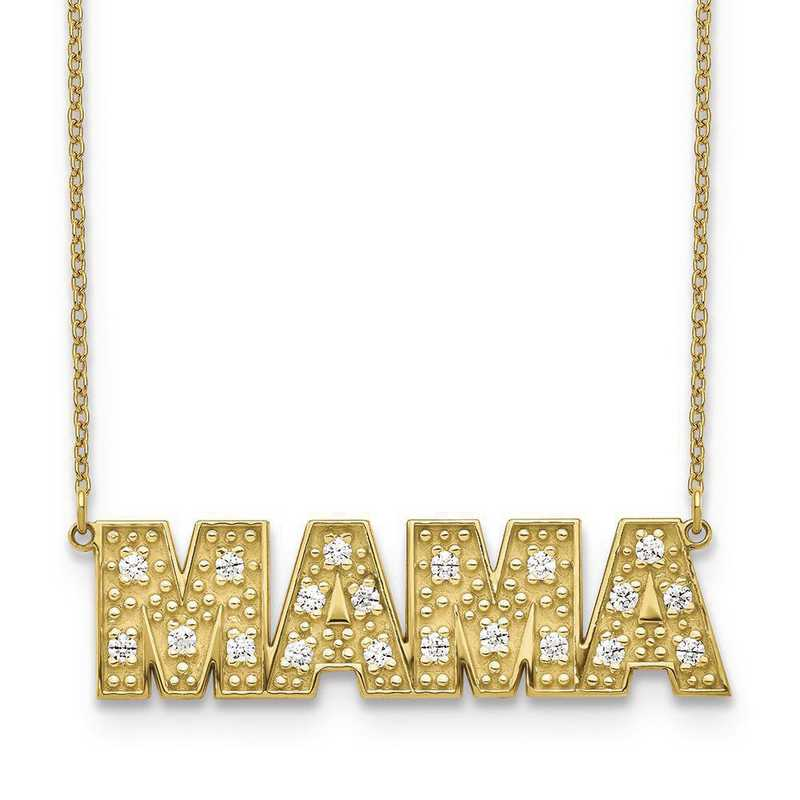 10XNA819-4YAA: 10 Karat Yellow Gold 4 Letter Diamond Necklace