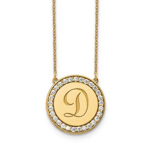 10XNA847YAA: 10ky Circle Letter Necklace with Diamonds