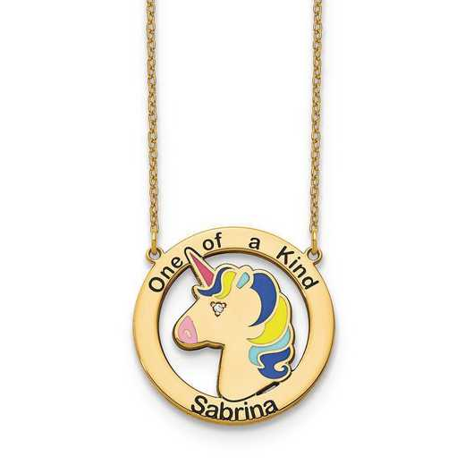 10XNA861YAA: 10ky One of a Kind Personalized Unicorn Neckl with Diamond