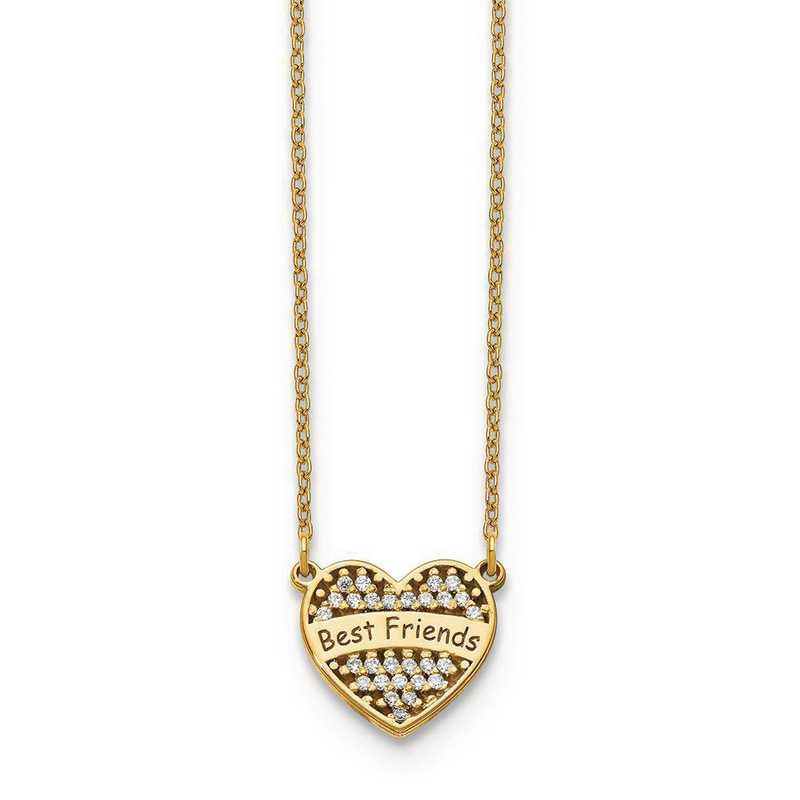 10XNA887Y: 10ky Small Personalized Diamond Heart Necklace