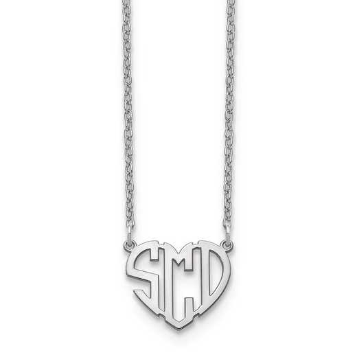 10XNA895W: 10kw Heart Monogram Necklace
