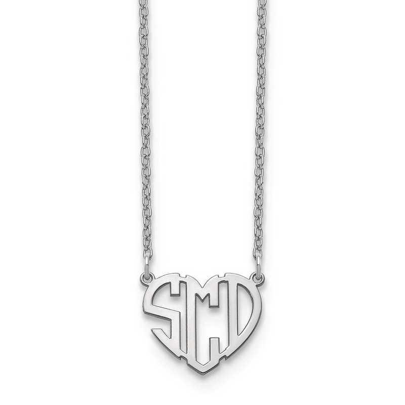 10XNA895W: 10kw Heart Monogram Necklace