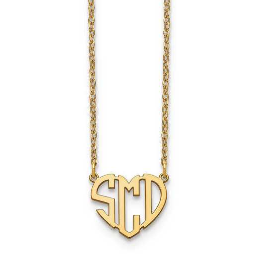 10XNA895Y: 10ky Heart Monogram Necklace