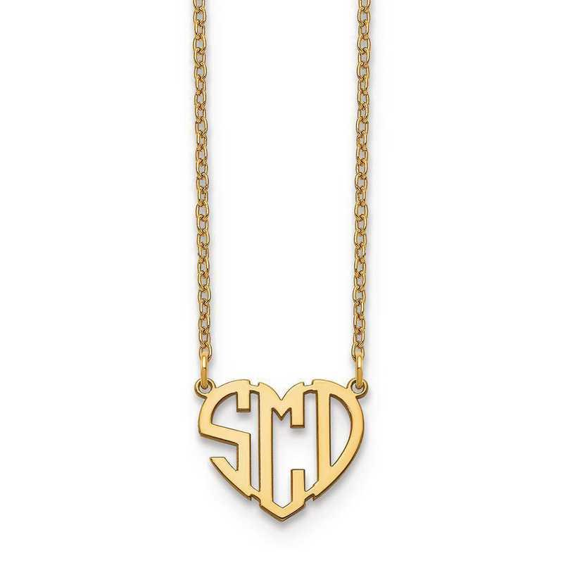 10XNA895Y: 10ky Heart Monogram Necklace