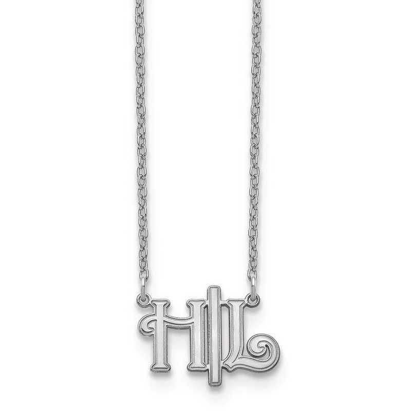 10XNA903W: 10kw Horizontal Script Initials Necklace