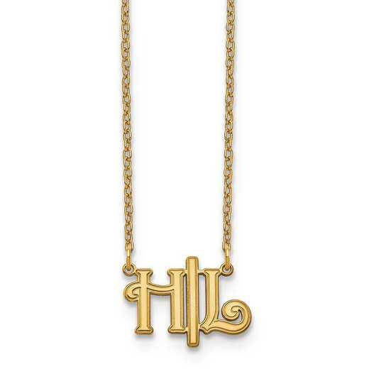 10XNA903Y: 10ky Horizontal Script Initials Necklace