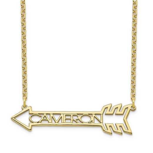 10XNA930Y: 10 Karat Yellow GOld Name Arrow Necklace