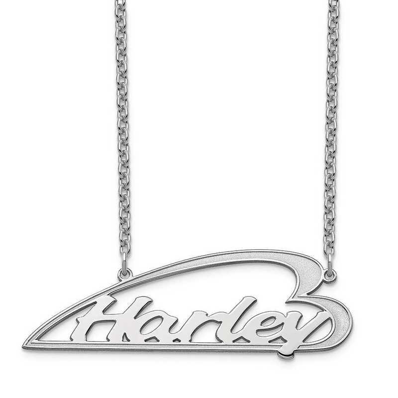 10XNA932W: 10 Karat White Gold Side Heart Nameplate Necklace