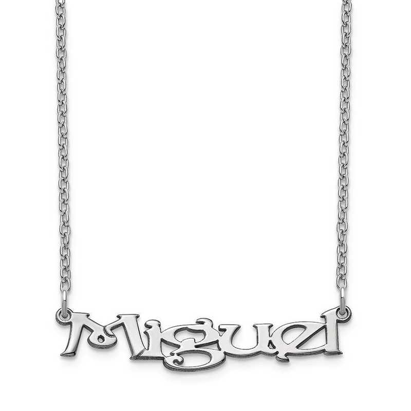 10XNA939W: 10 Karat White Gold Fancy Block Name Plate Necklace