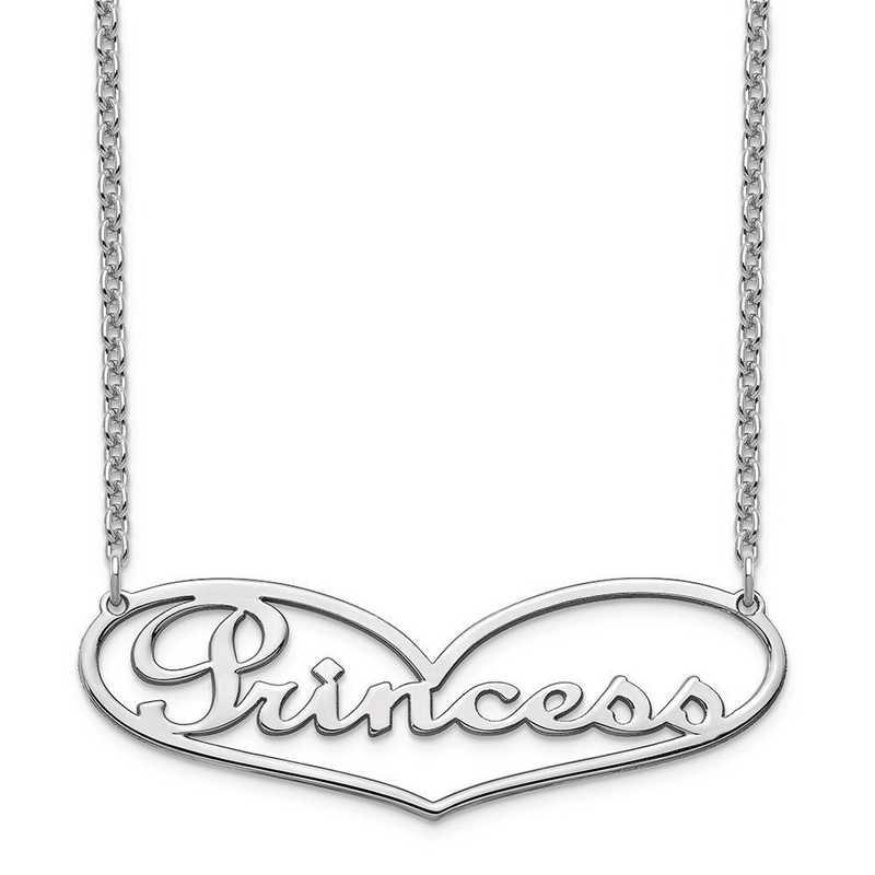 10XNA941W: 10 Karat White Gold Heart Name Plate Necklace