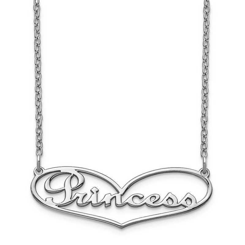 10XNA942W: 10 Karat White Gold Heart Name Plate Necklace