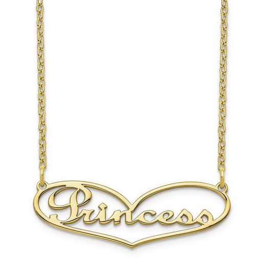 10XNA942Y: 10 Karat Yellow Gold Heart Name Plate Necklace