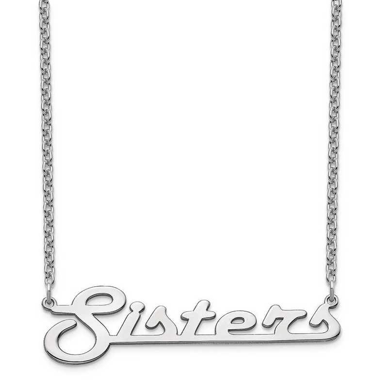 10XNA943W: 10 Karat White Gold Underlined Name Plate Necklace