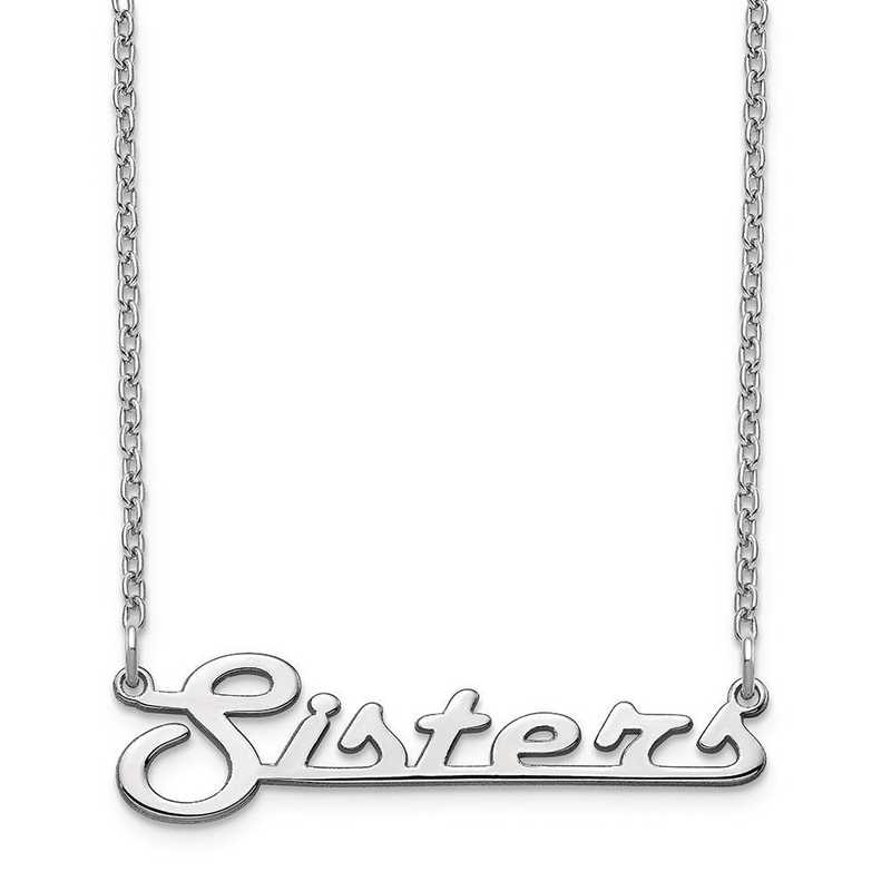 10XNA944W: 10 Karat White Gold Underlined Name Plate Necklace