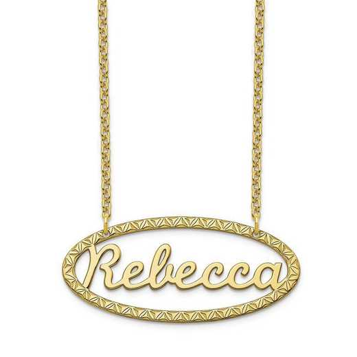 10XNA947Y: 10 Karat Yellow Gold Fancy Border Name Plate Necklace