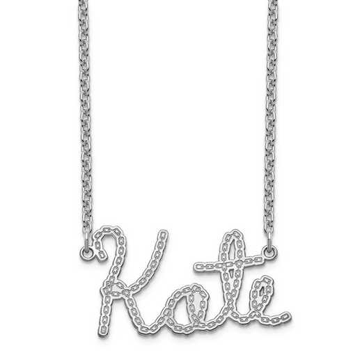 10XNA956W: 10 Karat White Gold Chain Name Plate Necklace