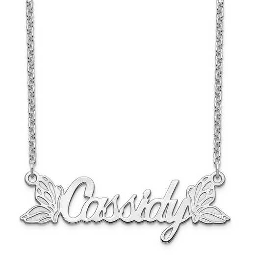 10XNA963W: 10 Karat White Gold Butterfly Wings Name Plate Necklace