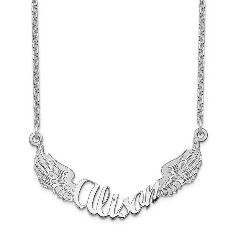 10XNA964W: 10 Karat White Gold Angel Wings Name Plate Necklace