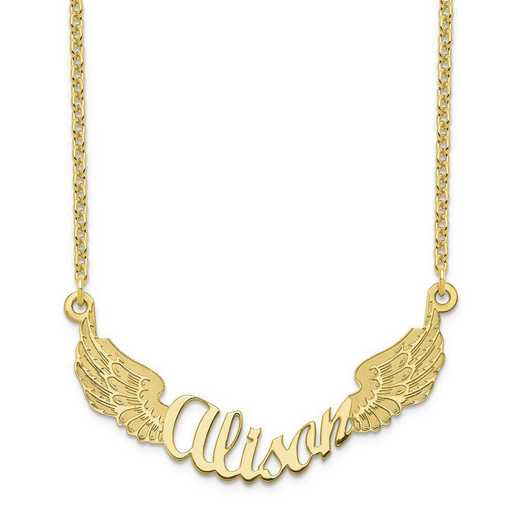 10XNA964Y: 10 Karat Yellow Gold Angel Wings Name Plate Necklace
