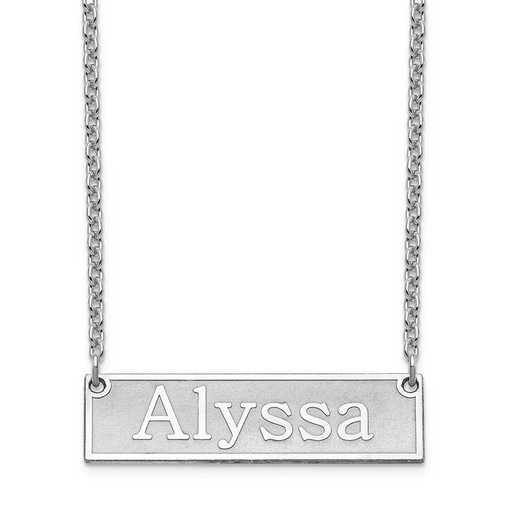 10XNA965W: 10 Karat White Gold Etched Bar Name Necklace