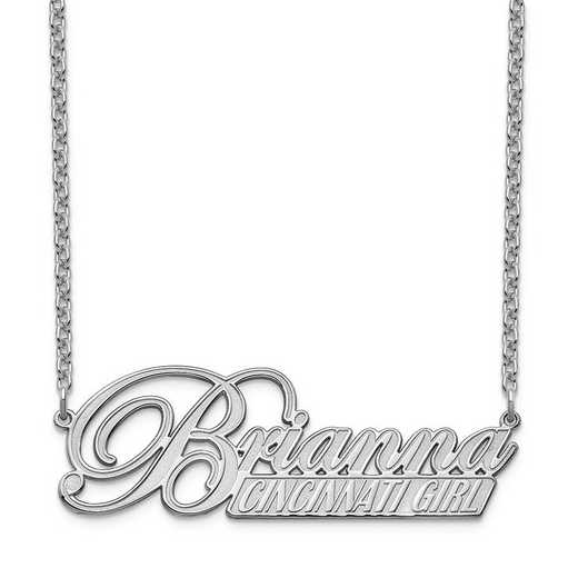 10XNA972W: 10 Karat White Gold Name and Bar Necklace